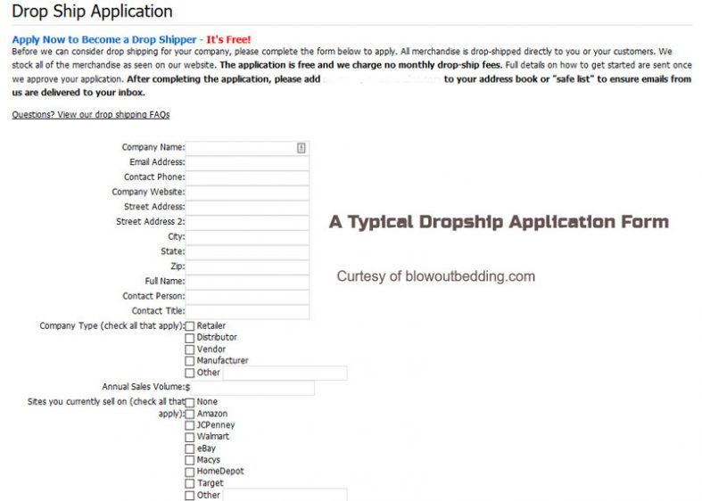 Typical Dropship Application Form